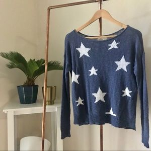 Hollister Blue + White Star Knit Sweater XS